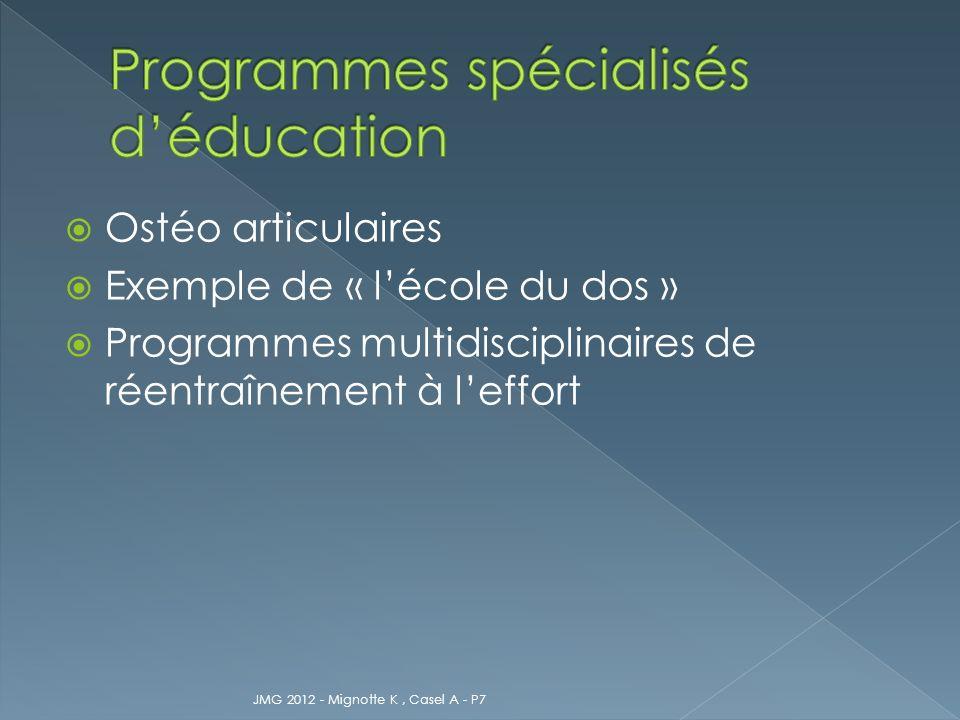 Programmes spécialisés d'éducation