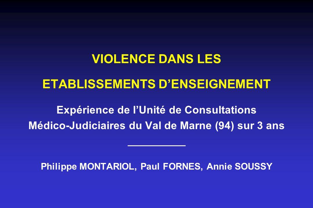 VIOLENCE DANS LES ETABLISSEMENTS D'ENSEIGNEMENT