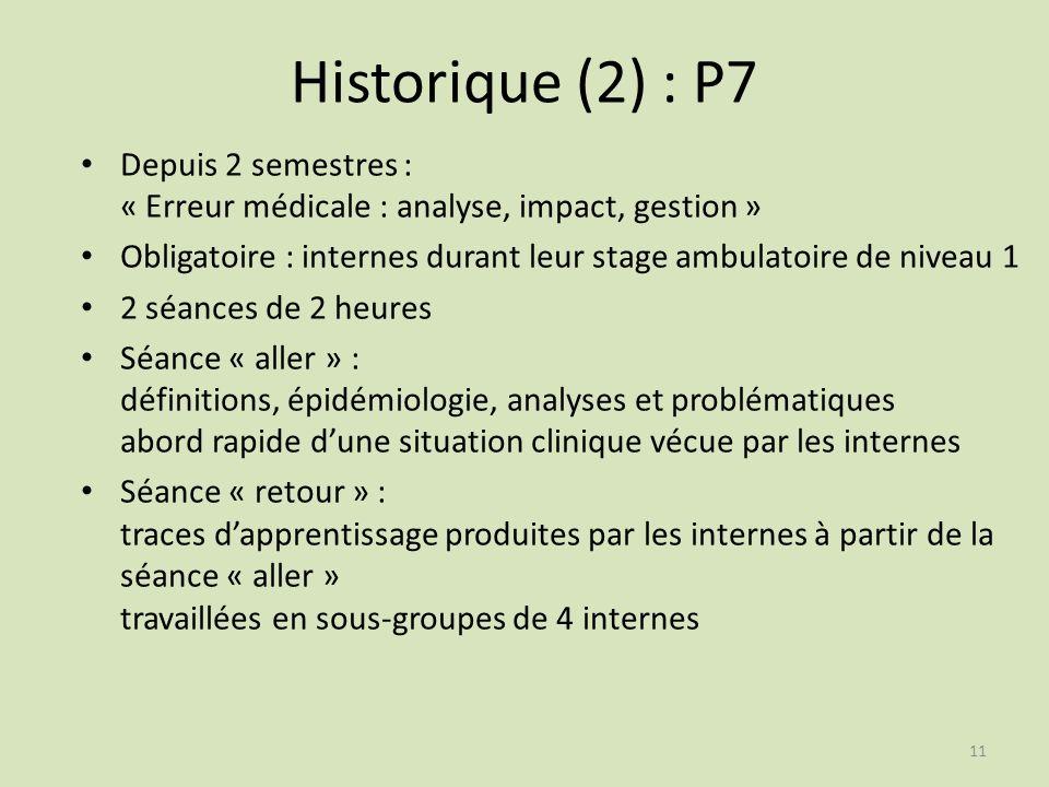 Historique (2) : P7 Depuis 2 semestres : « Erreur médicale : analyse, impact, gestion »