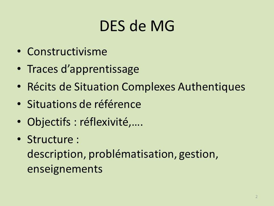 DES de MG Constructivisme Traces d'apprentissage