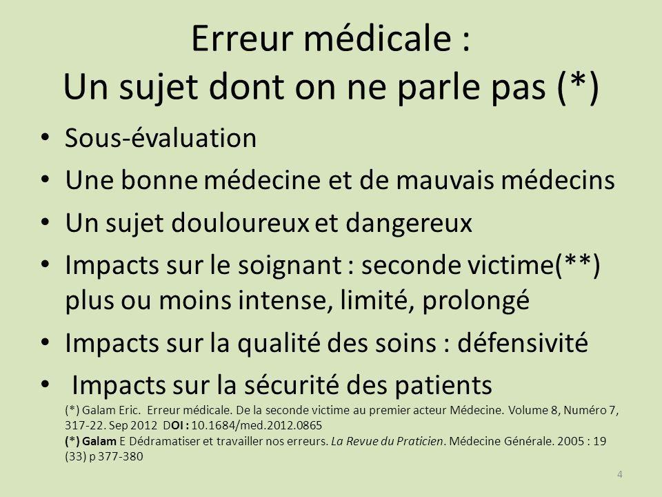 Erreur médicale : Un sujet dont on ne parle pas (*)