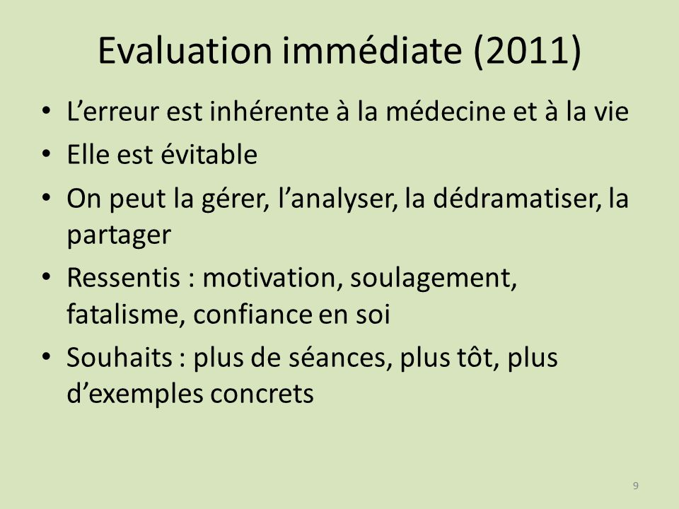 Evaluation immédiate (2011)