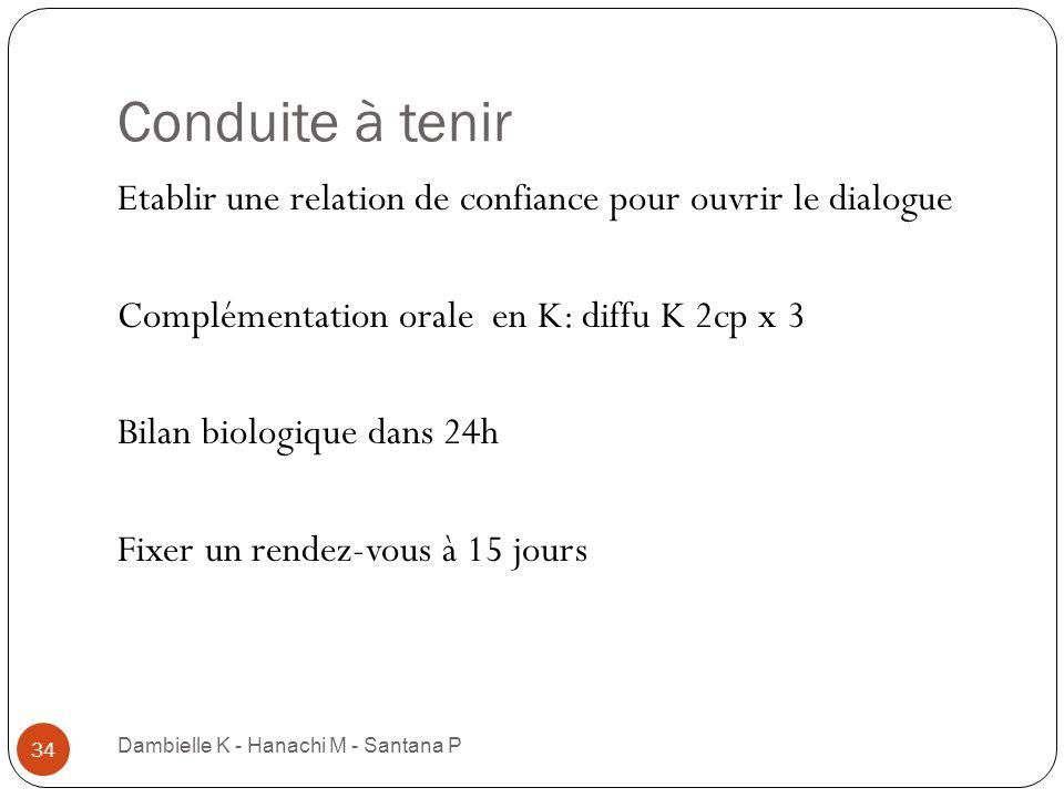 Conduite à tenirEtablir une relation de confiance pour ouvrir le dialogue. Complémentation orale en K: diffu K 2cp x 3.