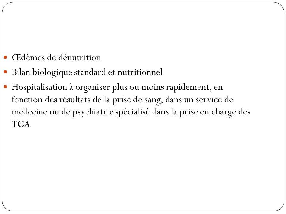 Œdèmes de dénutritionBilan biologique standard et nutritionnel.