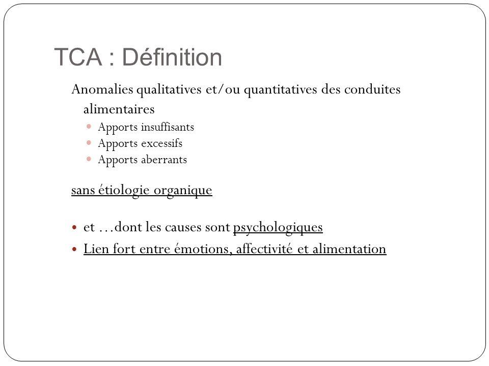 TCA : DéfinitionAnomalies qualitatives et/ou quantitatives des conduites alimentaires. Apports insuffisants.