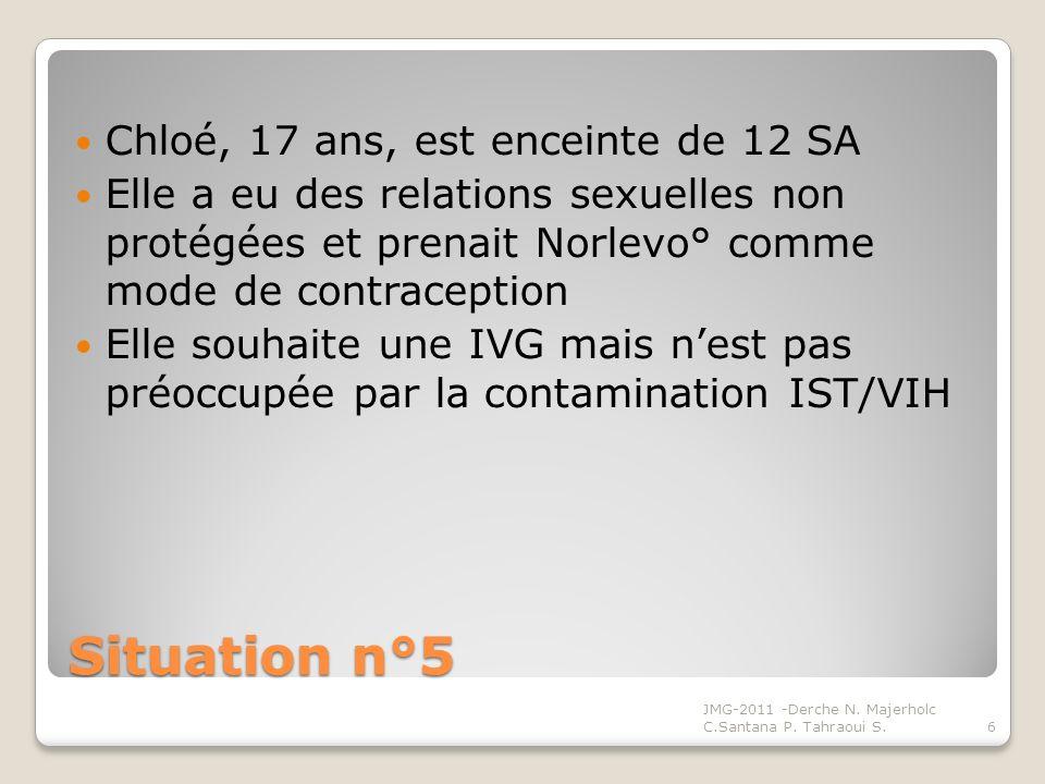 Situation n°5 Chloé, 17 ans, est enceinte de 12 SA