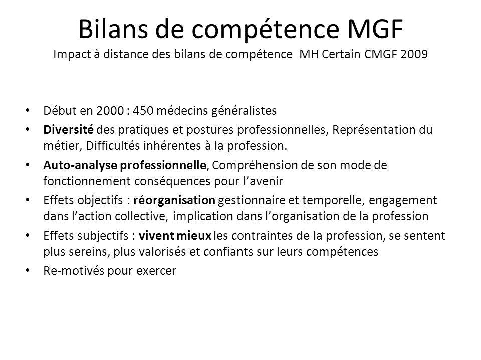Bilans de compétence MGF Impact à distance des bilans de compétence MH Certain CMGF 2009