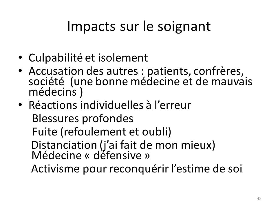 Impacts sur le soignant