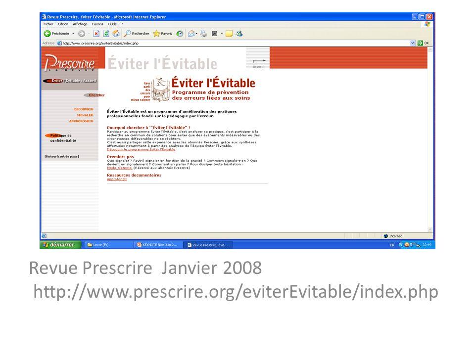 Revue Prescrire Janvier 2008 http://www. prescrire