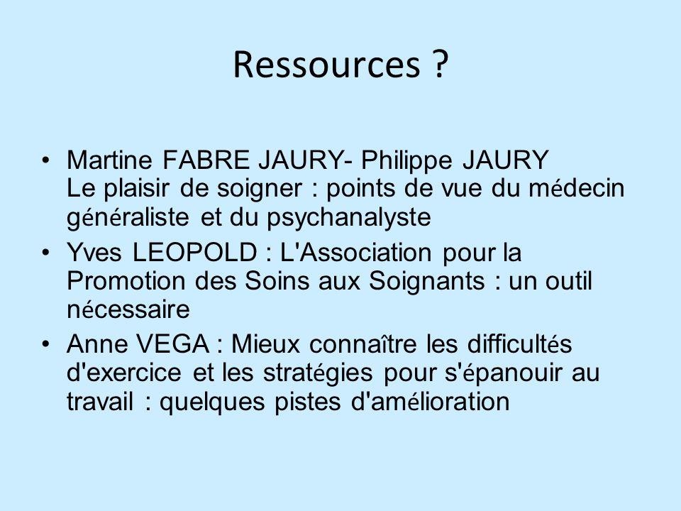 Ressources Martine FABRE JAURY- Philippe JAURY Le plaisir de soigner : points de vue du médecin généraliste et du psychanalyste.