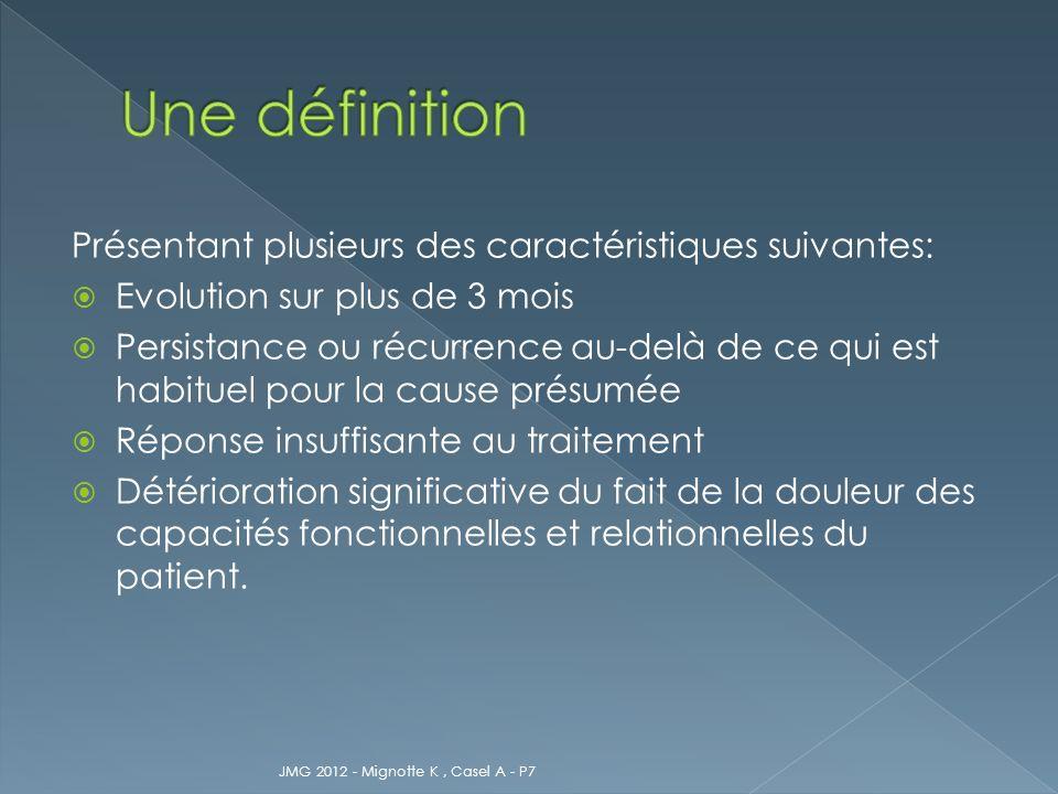 Une définition Présentant plusieurs des caractéristiques suivantes: