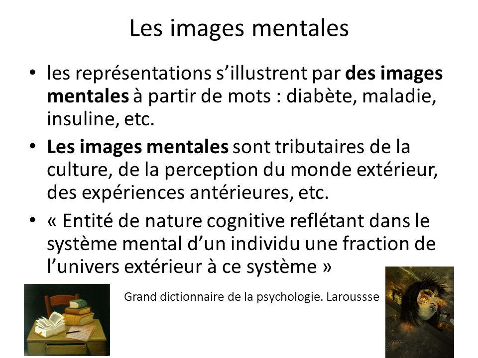 Les images mentales les représentations s'illustrent par des images mentales à partir de mots : diabète, maladie, insuline, etc.