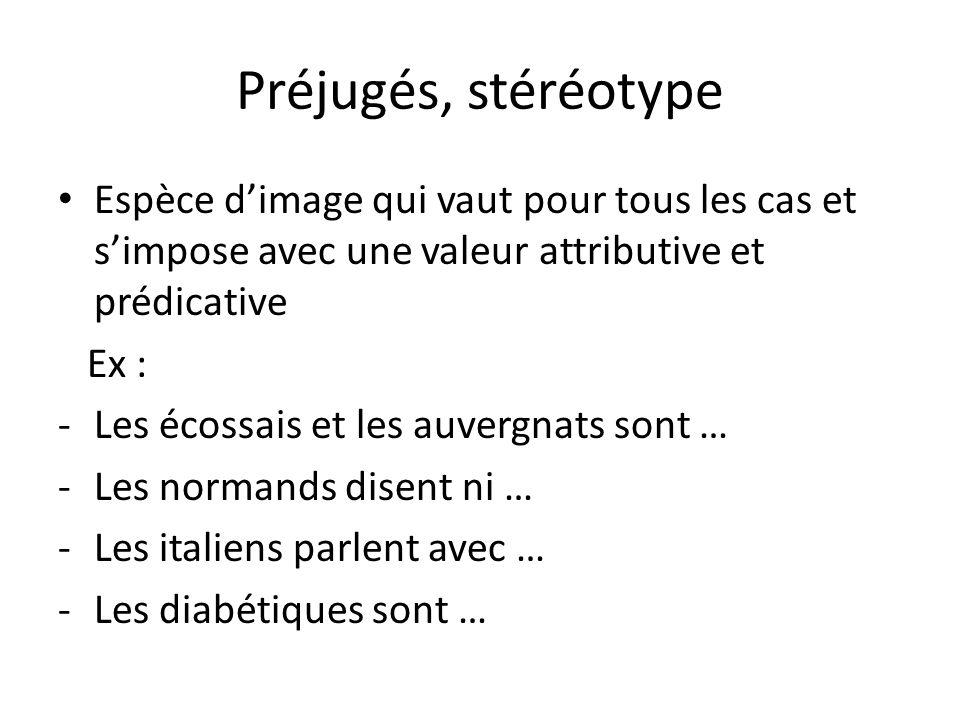Préjugés, stéréotype Espèce d'image qui vaut pour tous les cas et s'impose avec une valeur attributive et prédicative.
