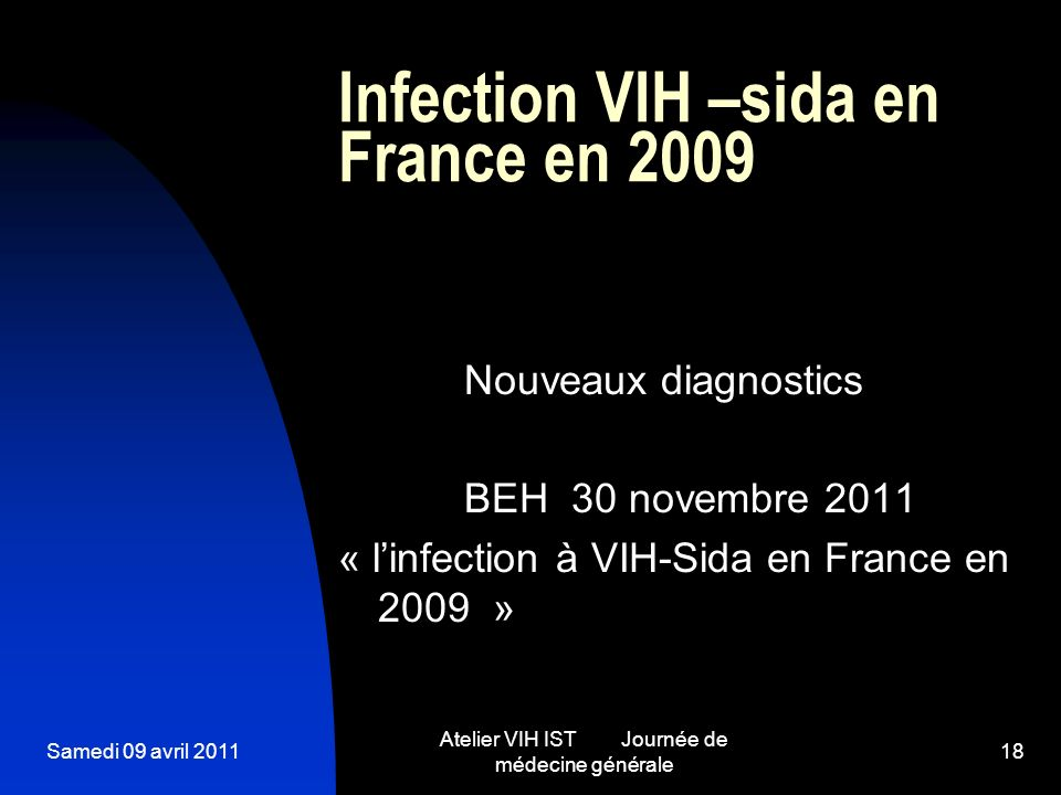 Infection VIH –sida en France en 2009