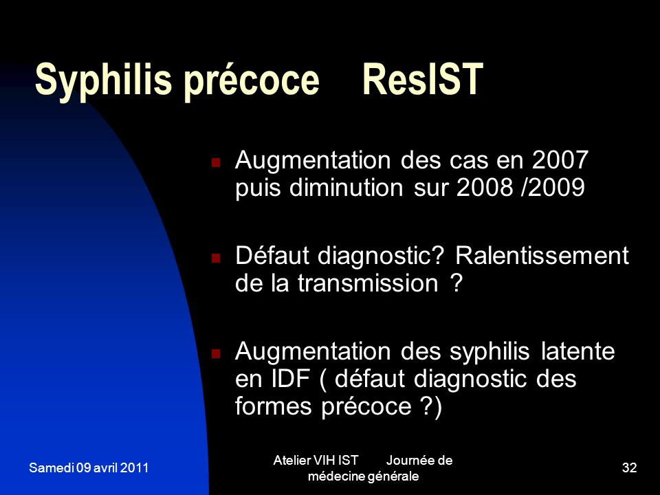 Syphilis précoce ResIST
