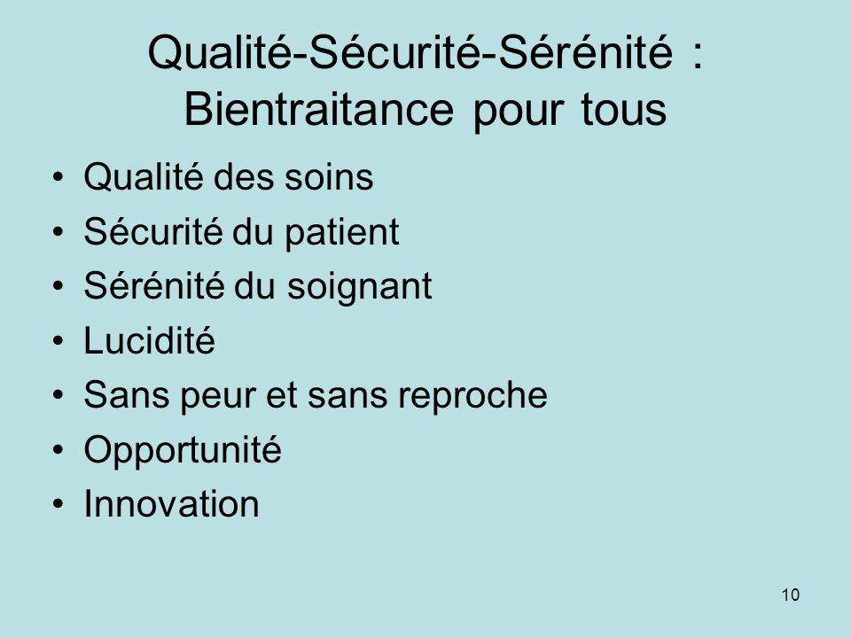 Qualité-Sécurité-Sérénité : Bientraitance pour tous