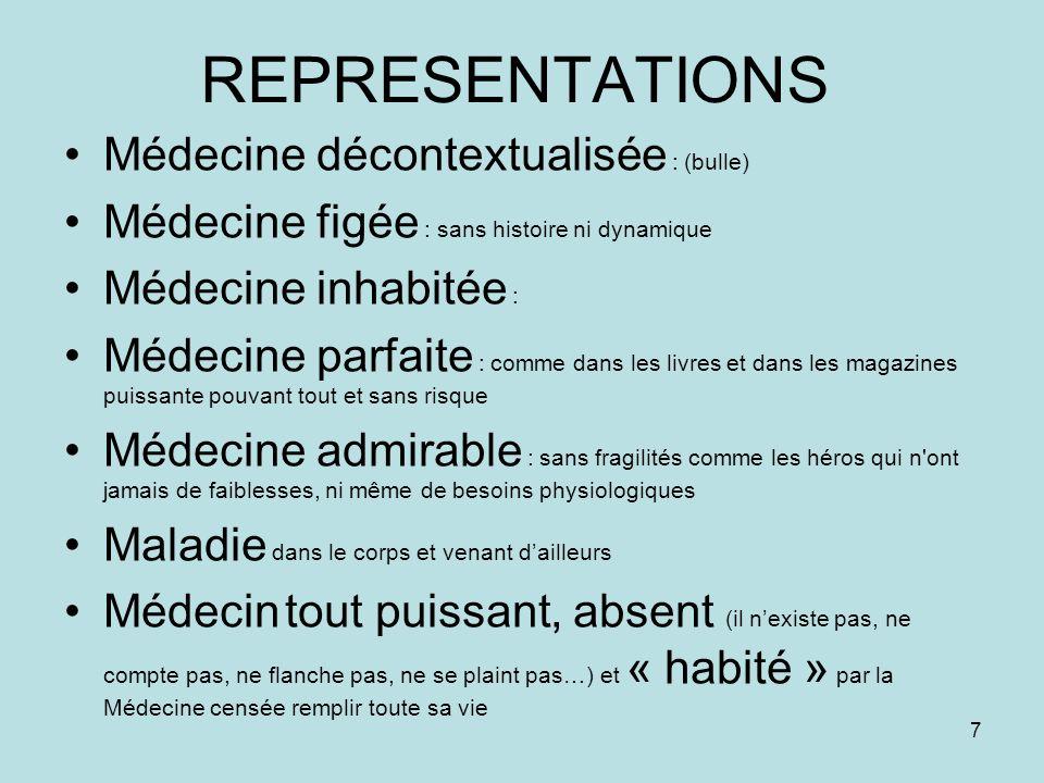 REPRESENTATIONS Médecine décontextualisée : (bulle)