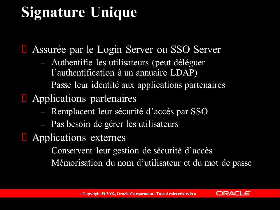 Signature Unique Assurée par le Login Server ou SSO Server
