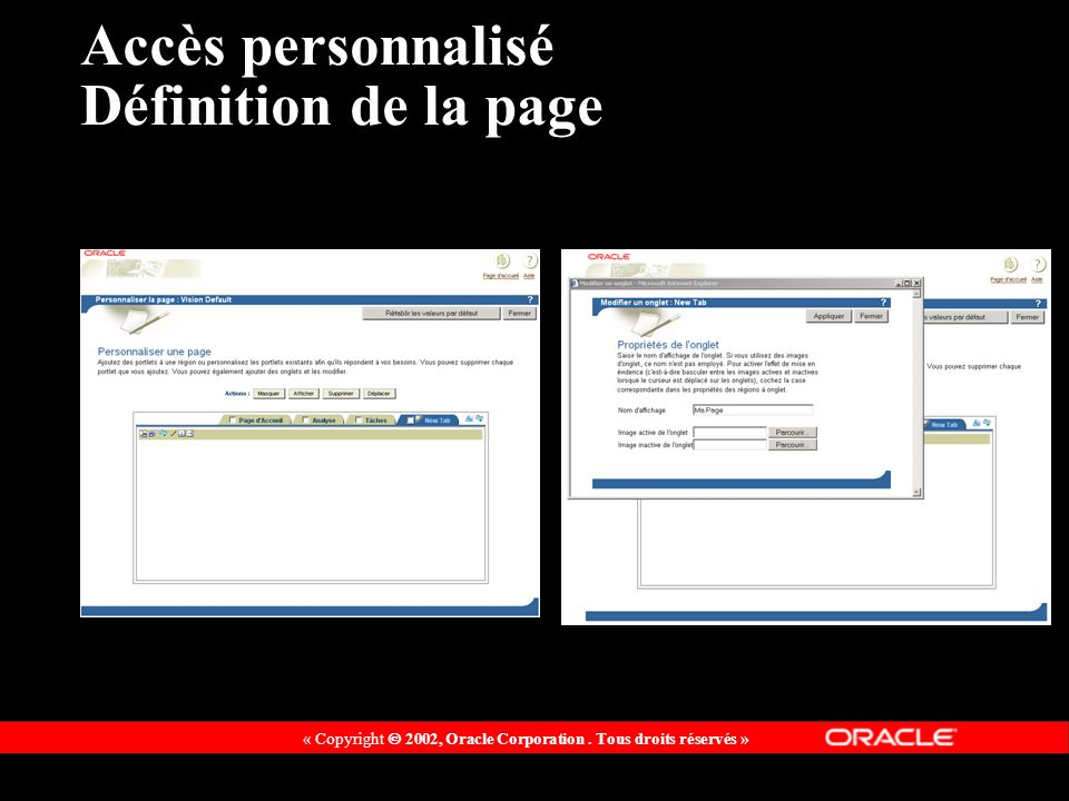 Accès personnalisé Définition de la page