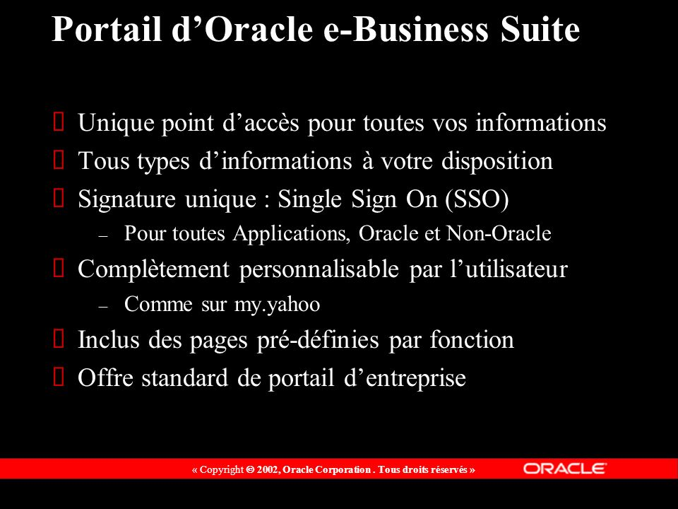 Portail d'Oracle e-Business Suite