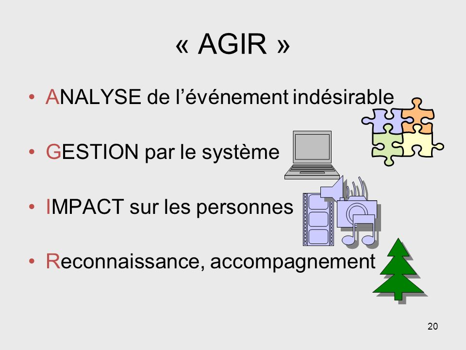 « AGIR » ANALYSE de l'événement indésirable GESTION par le système