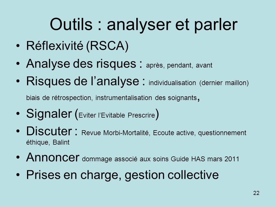 Outils : analyser et parler