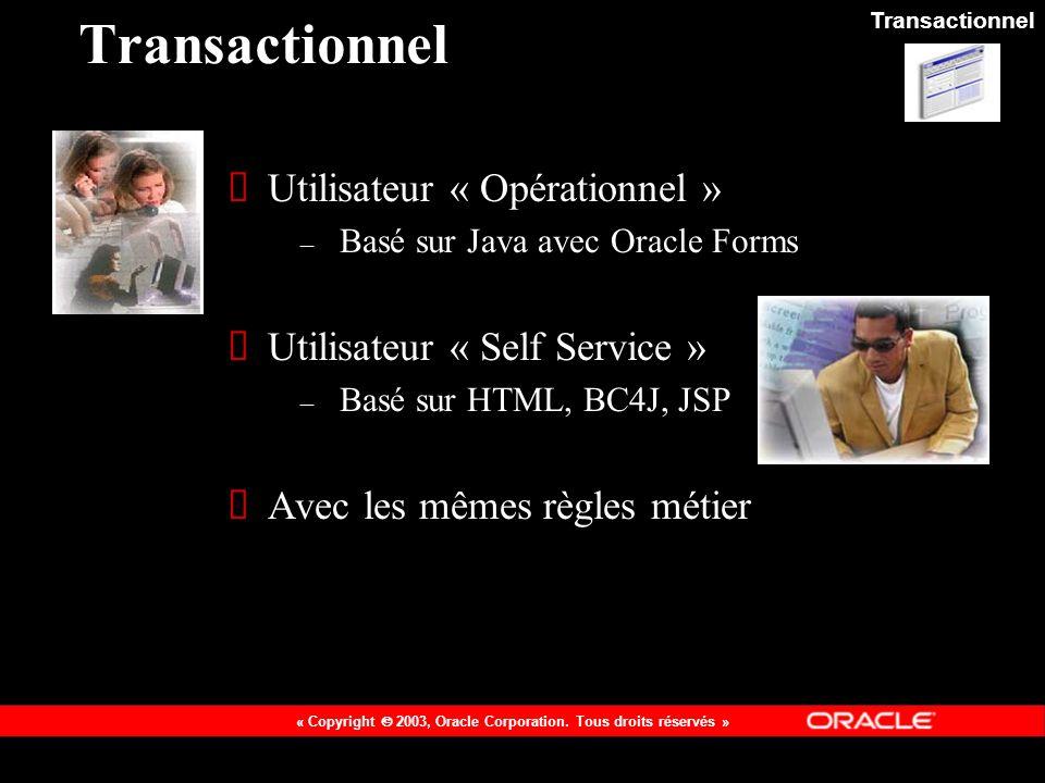 Transactionnel Utilisateur « Opérationnel »
