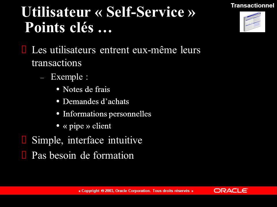 Utilisateur « Self-Service » Points clés …