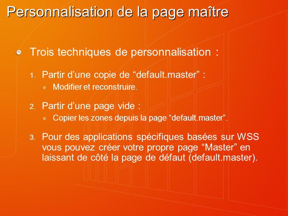 Personnalisation de la page maître