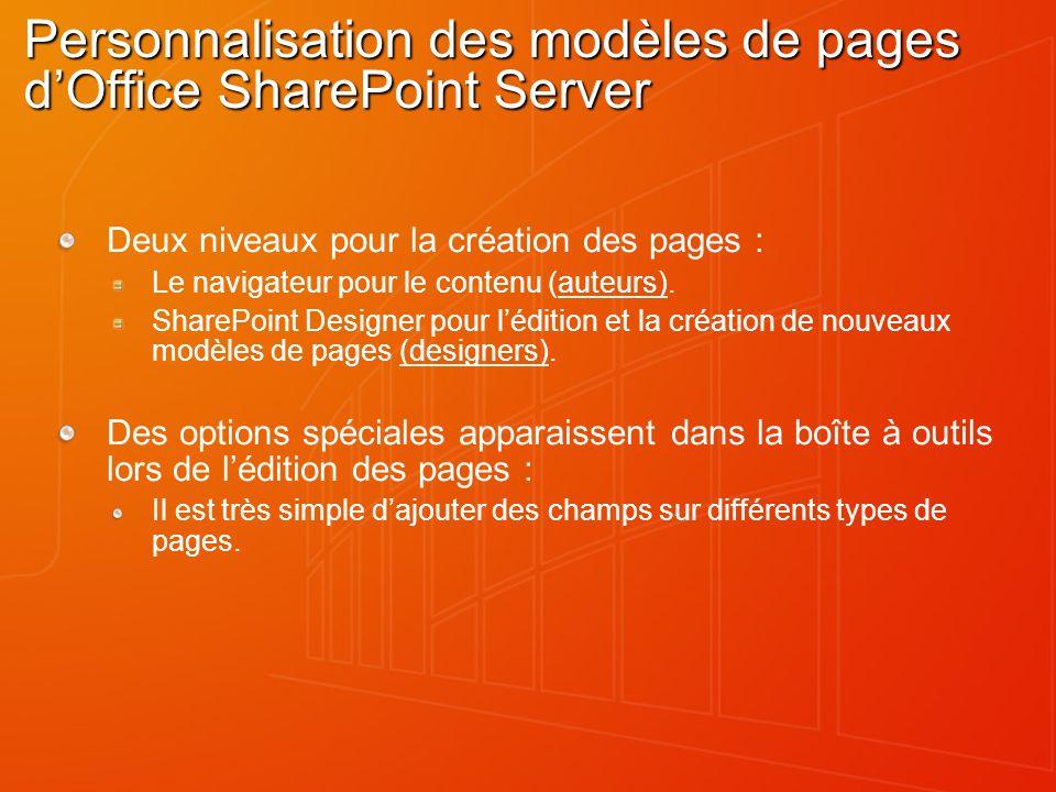 Personnalisation des modèles de pages d'Office SharePoint Server