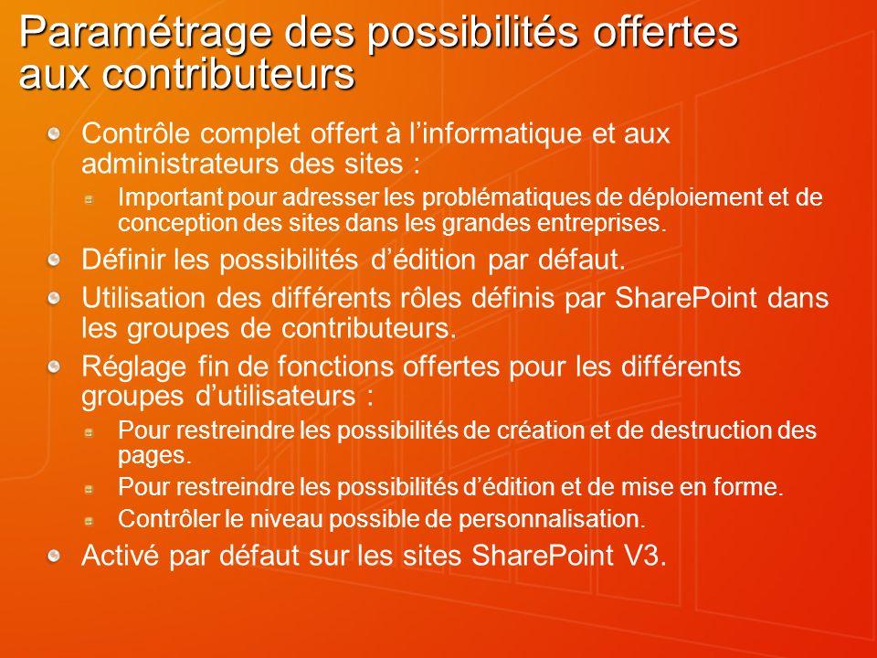 Paramétrage des possibilités offertes aux contributeurs