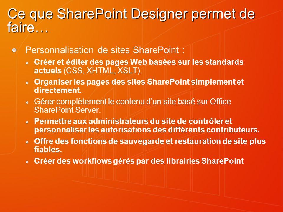 Ce que SharePoint Designer permet de faire…
