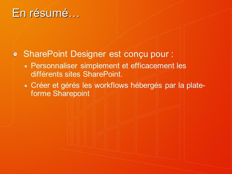 En résumé… SharePoint Designer est conçu pour :