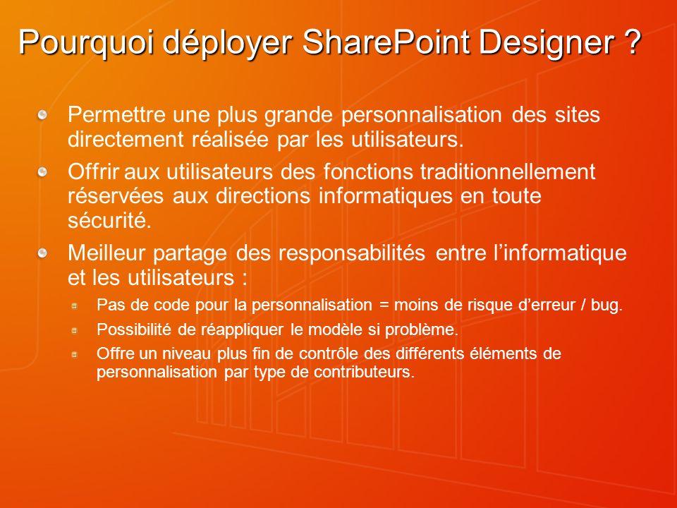 Pourquoi déployer SharePoint Designer