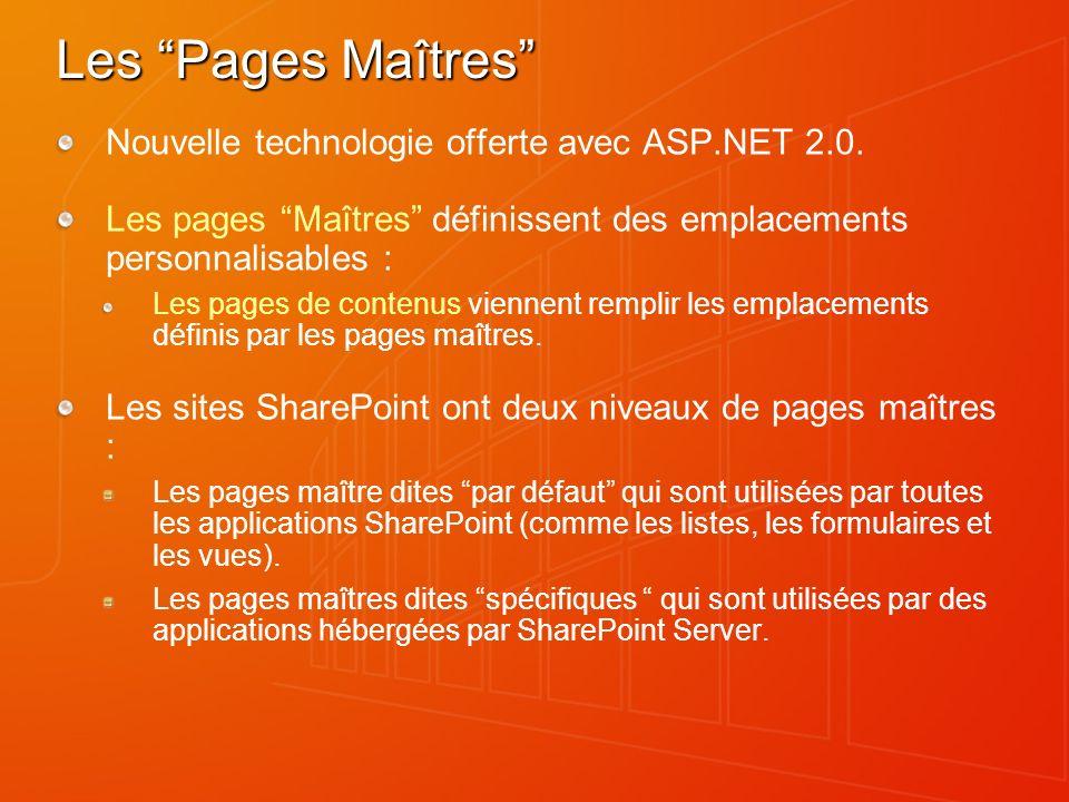 Les Pages Maîtres Nouvelle technologie offerte avec ASP.NET 2.0.