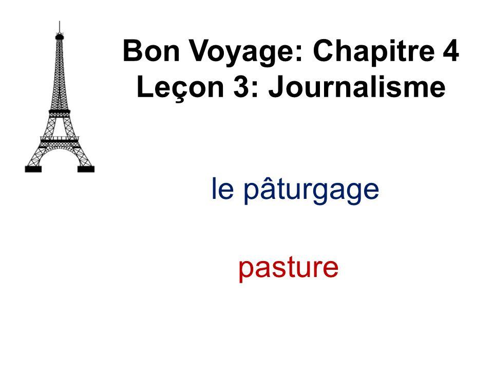 Bon Voyage: Chapitre 4 Leçon 3: Journalisme le pâturgage pasture