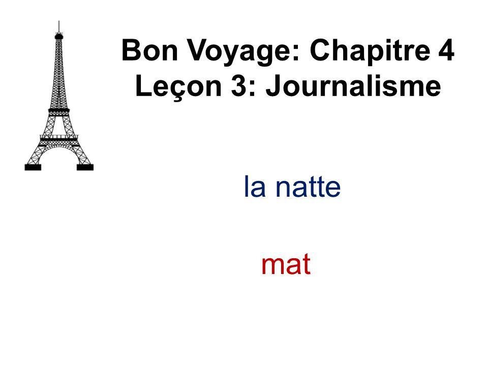 Bon Voyage: Chapitre 4 Leçon 3: Journalisme la natte mat