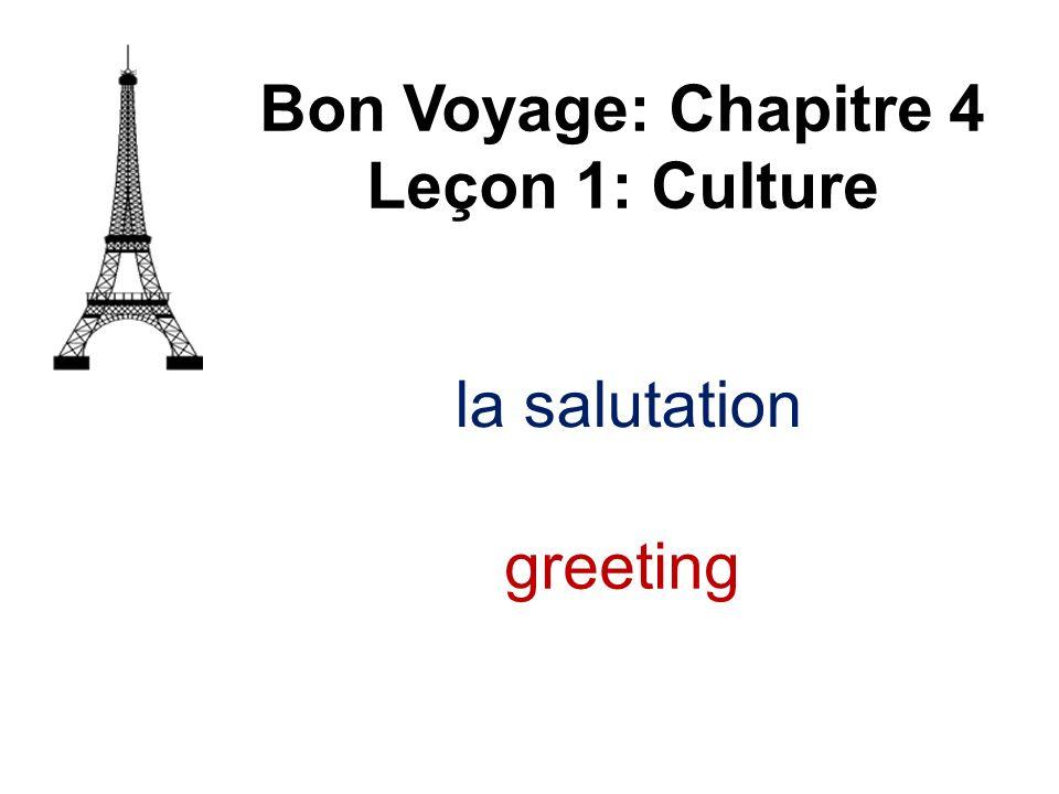 Bon Voyage: Chapitre 4 Leçon 1: Culture la salutation greeting