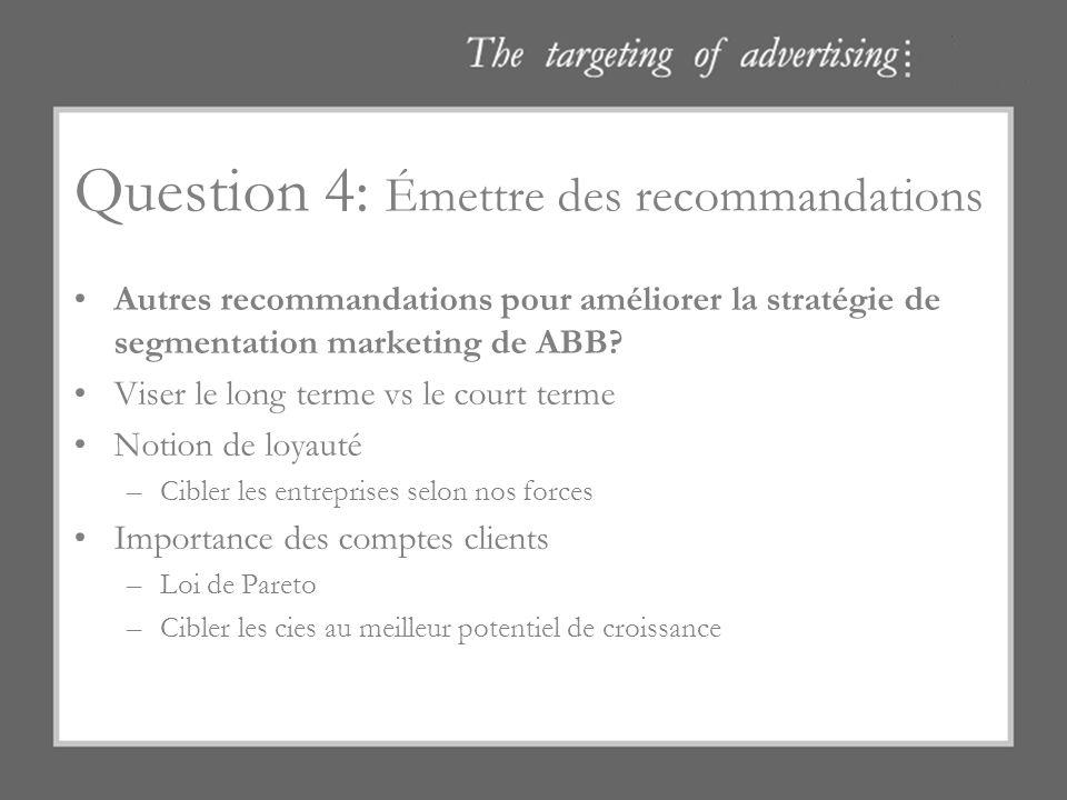 Question 4: Émettre des recommandations