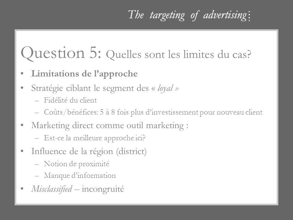 Question 5: Quelles sont les limites du cas