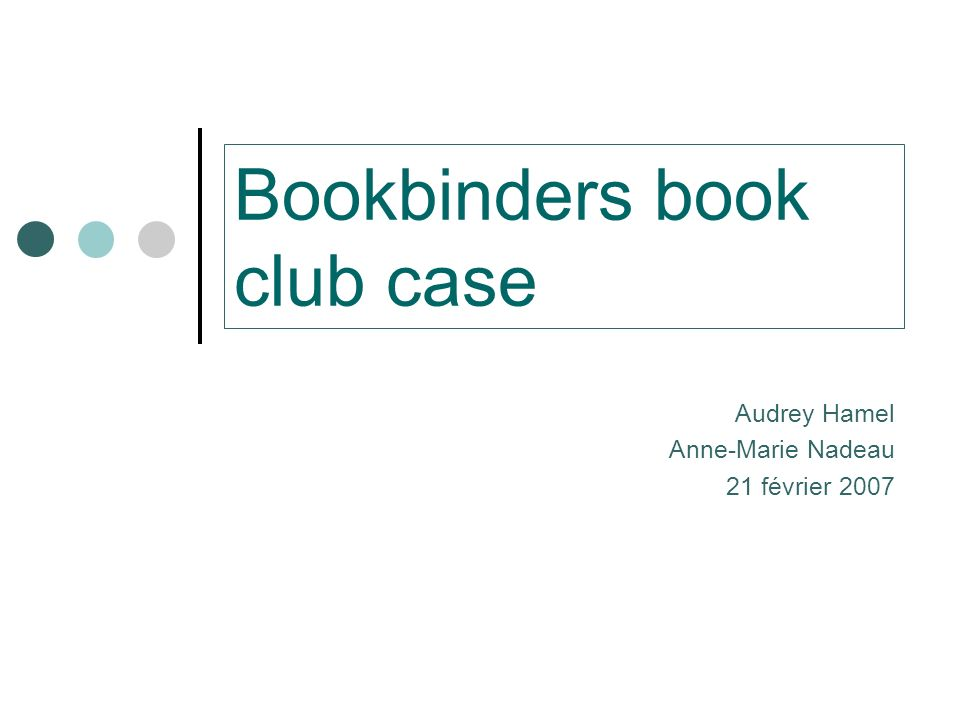 Bookbinders book club case