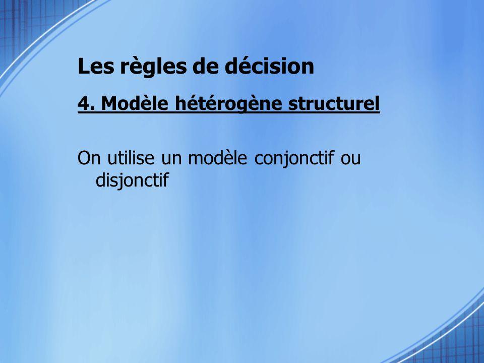 Les règles de décision 4. Modèle hétérogène structurel