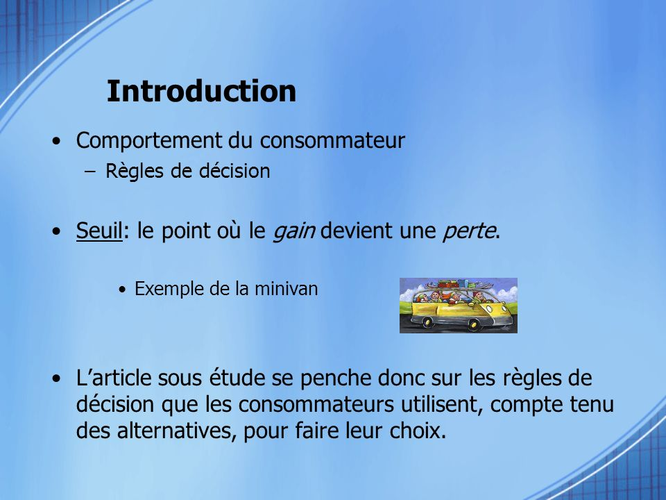 Introduction Comportement du consommateur