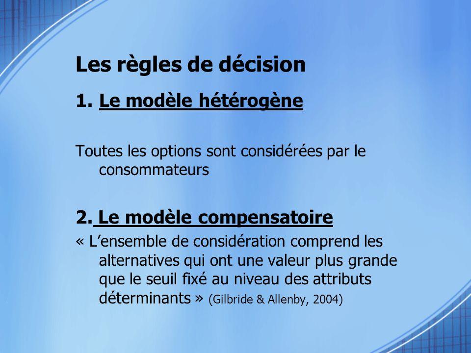 Les règles de décision Le modèle hétérogène 2. Le modèle compensatoire