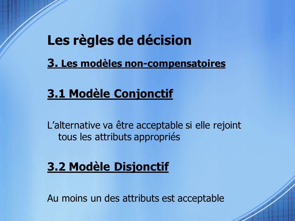 Les règles de décision 3. Les modèles non-compensatoires