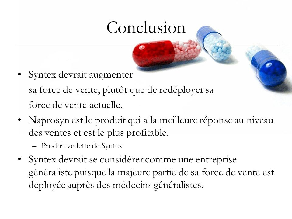 Conclusion Syntex devrait augmenter