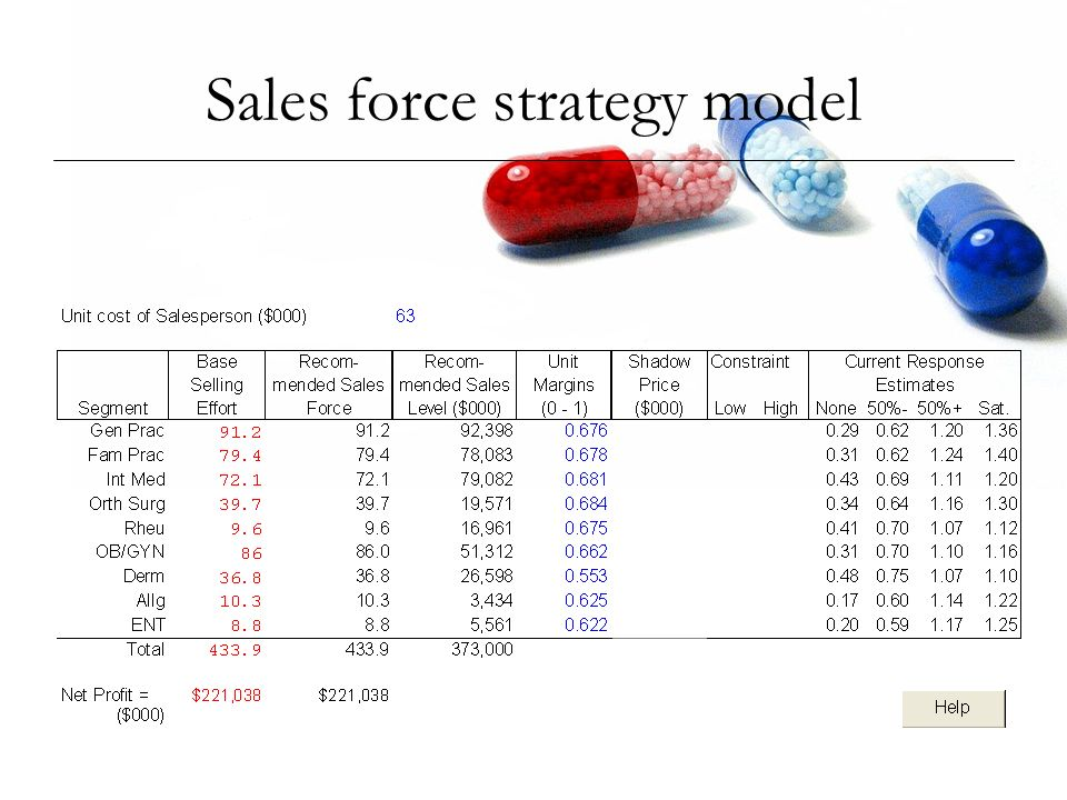 Sales force strategy model