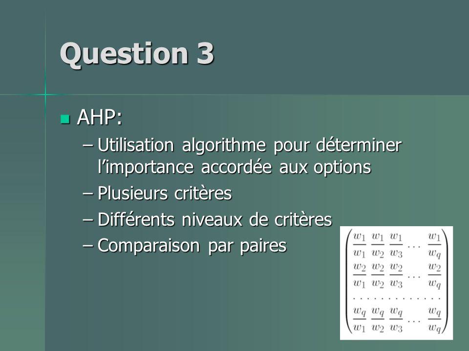 Question 3 AHP: Utilisation algorithme pour déterminer l'importance accordée aux options. Plusieurs critères.