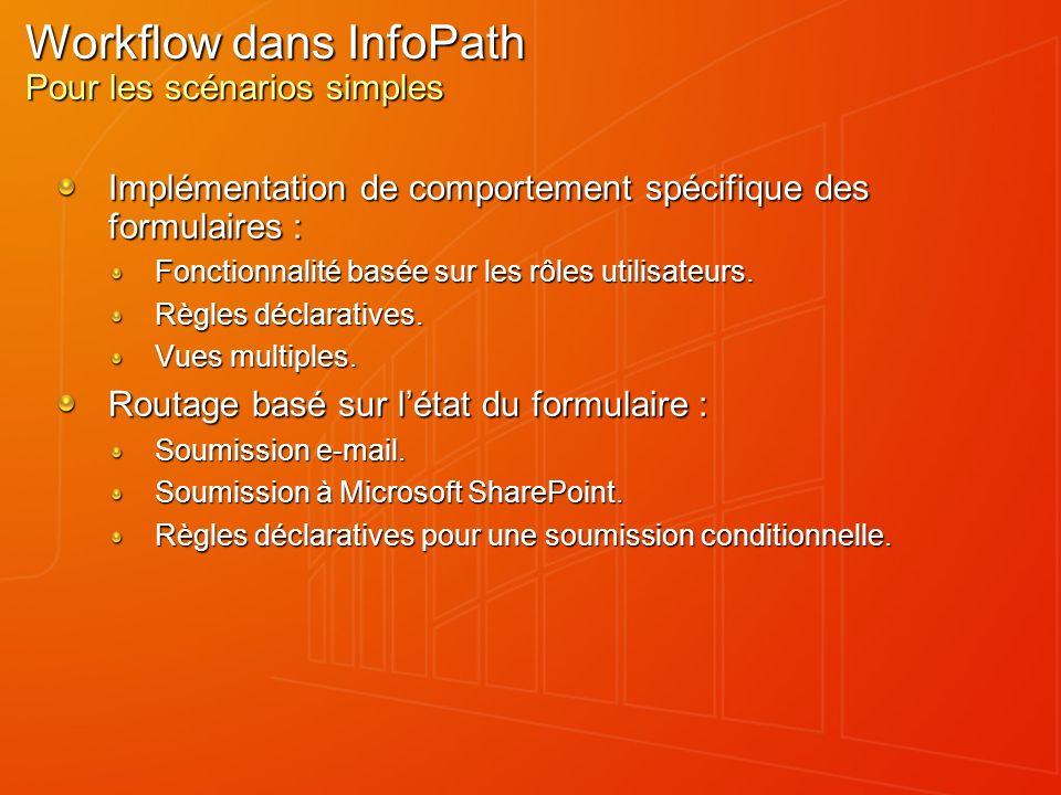 Workflow dans InfoPath Pour les scénarios simples