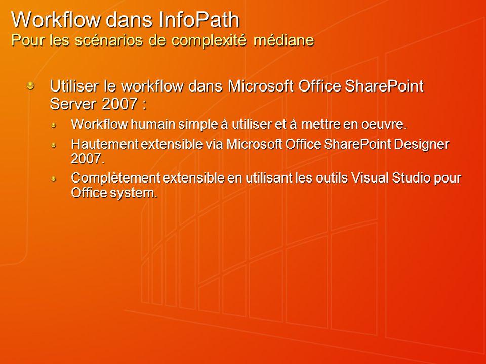 Workflow dans InfoPath Pour les scénarios de complexité médiane